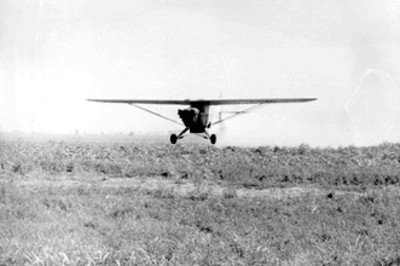 Aviones fumigadores rociando el polvo para matar la plaga del algodón