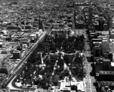 Alameda central en la Ciudad de México, vista aérea