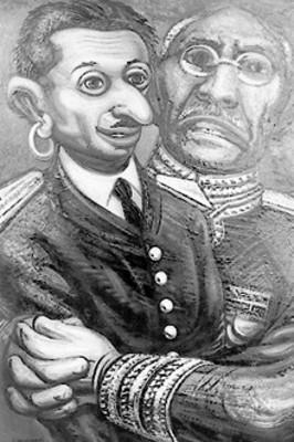 Victoriano Huerta da un abrazo a un hombre, pintura