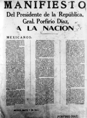 Manifiesto de Porfirio Díaz a la nación