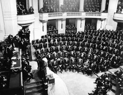 Aspecto de la Cámara de Diputados durante el V informe del presidente de la República Gustavo Díaz Ordaz