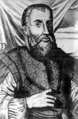 Diego Velázquez de Cuellar, conquistador, grabado