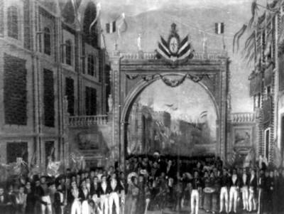 """""""Entrada de Iturbide"""" con el ejército de las Tres Garantías, reprografia de pintura"""