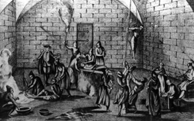 Escenas de los diferentes tormentos aplicados por la inquisición: agua, fuego, potro y estajada