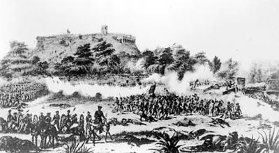 Batalla en Chapultepec, litografía