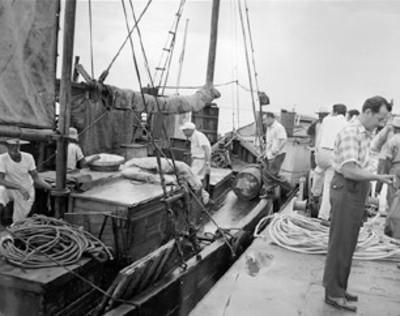 Hombres supervisan embarcación