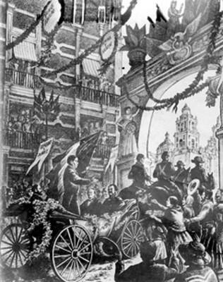 Entrada triunfal de Benito Juárez a la ciudad de México, grabado