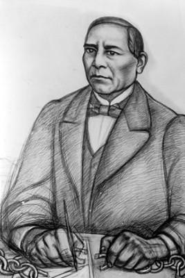 """Retrato de Benito Juárez -dibujo de carboncillo- del pintor """"Raúl Angiano en Relaciones exteriores"""""""