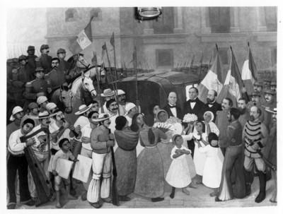 Entrada triunfal de Juárez a la ciudad de México, pintura en el Castillo de Chapultepec, reprografía