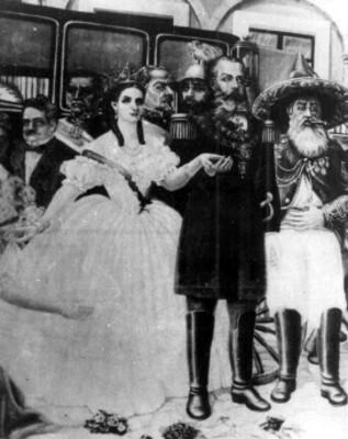 Maximiliano de Habsburo y Carlota durante un evento, pintura