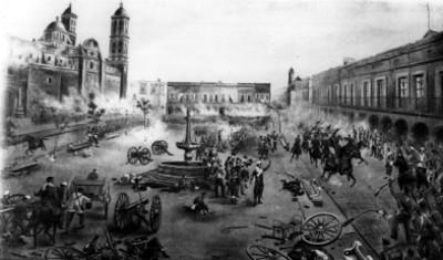 Ejército celebra el Triunfo de una batalla, litografía
