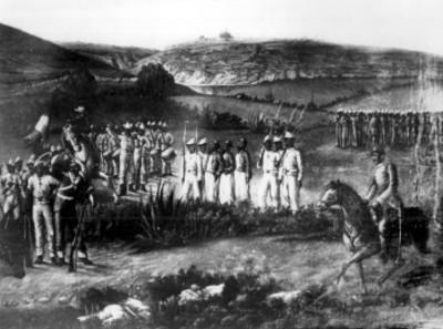 Mexicanos conducen a franceses después de la batalla de Puebla, litografía
