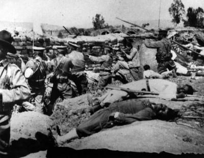 Soldaldos Federales durante una batalla