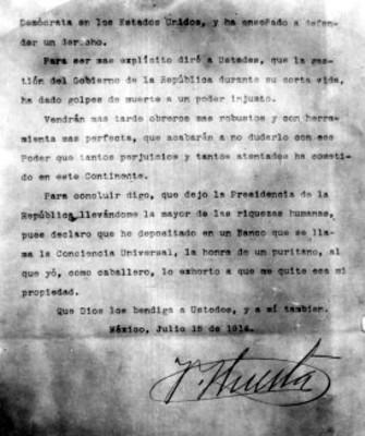 Renuncia de Victoriano Huerta a a Presidencia de la República