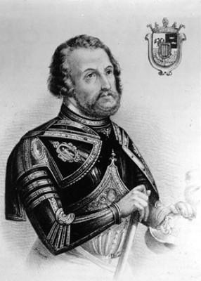 Hernán Cortes, conquistador español, litografía