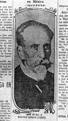 Antonio García Cuba, goegráfo y escritor, publicación periodistica