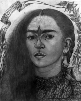 Autorretrato de Frida Kahlo, dibujo