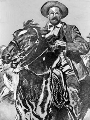 General Francisco Villa monta a caballo