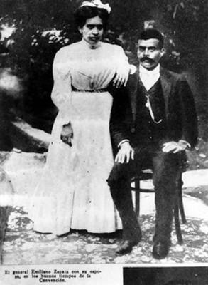 El general Emiliano Zapata con su esposa, retrato