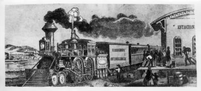 Ferrocarril interocéanico en una estación, litagrafía