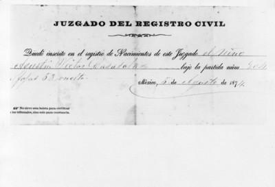 Boleta de registro de nacimiento perteneciente a Agustín Víctor Casasola