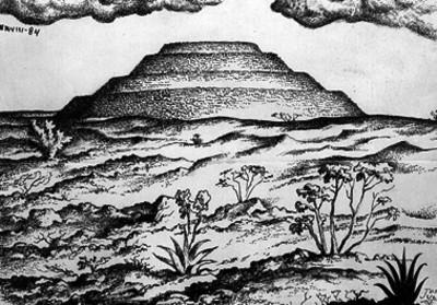 """Dibujo de la Pirámide de Cuicuilco de José Julio, """"CXXVIII-84"""""""