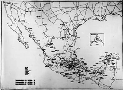 Mapa de la distribución de las zonas arqueológicas de la República mexicana