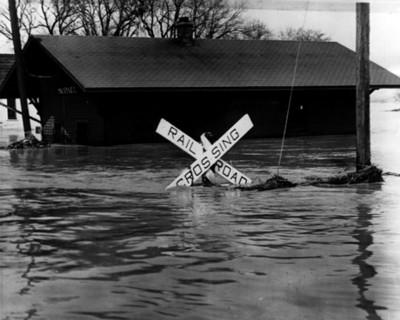 Estación de tren afectada por inundación