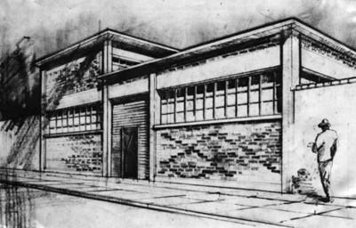 """""""Edificio para talleres de multigrafos"""", diseño"""