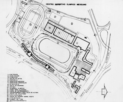 Plano del centro deportivo olimpico mexicano
