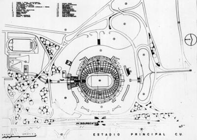 Plano del Estadio principal de Ciudad Universitaria