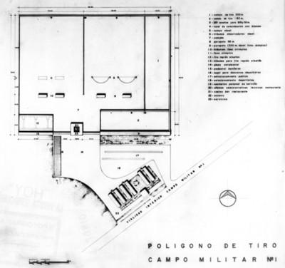 Plano del polígono de tiro en el campo militar No1