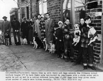"""Gente formada con sus """"perros"""" para vacunarlos"""