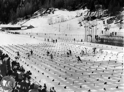 Esquiadores en la línea de meta de la competencia campo traviesa de los juegos olímpicos