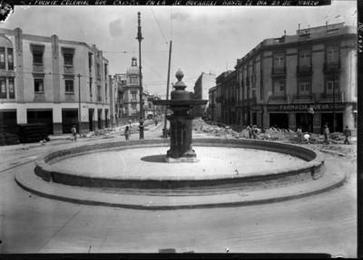 Fuente colonial que existió en la Av. Bucareli hasta el día 23 de marzo de 1933