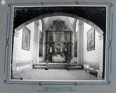 Altar y retablo, capilla del Sagrario
