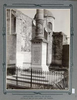 Columna de piedra y capilla del Zapote en Celaya, detalle
