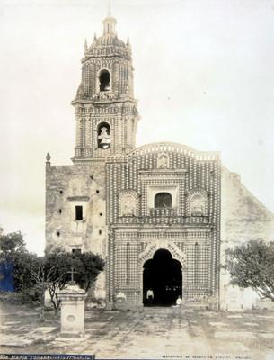 """Iglesia de """"Sta. María Tonantzintla (Cholula) [sic]"""", fachada principal"""
