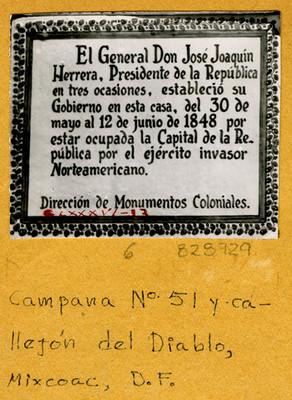 Placa en Campana N° 51 callejón del Diablo, Mixcoac, D.F.