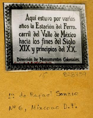 Placa en 1° de Rafael Sanzio N° 6 Mixcoac, D.F.
