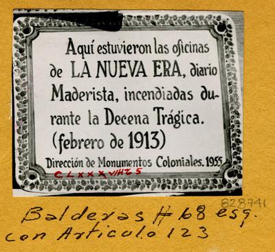 Placa en Balderas N' 68 esq. con Artículo 123