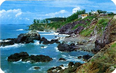 Vista de una costa de Mazatlán, tarjeta postal