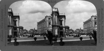 23771 Central Post Office (Right) and National Theather (Left) from Avenue Juárez, México City
