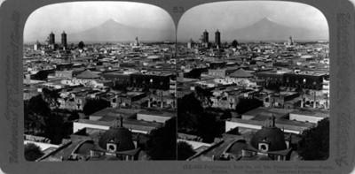 Vista de Puebla y el Popocatépetl, panorámica desde la iglesia de los Remedios