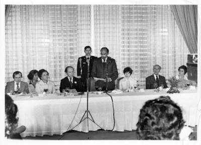 Luis Echeverría pronuncia discurso durante comida ofrecida a Pierre Trudeau