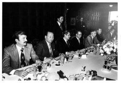 Invitados a la reunión con los miembros de la Misión de Amistad México-Nagoya durante banquete