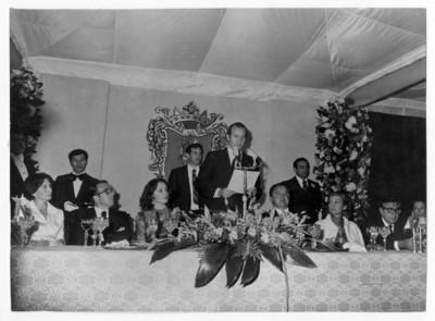 Rey Juan Carlos I de Borbón pronuncia discurso durante recepción ofrecida por su visita a Guanajuato