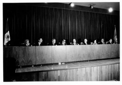 Guillermina Sánchez Meza, Alfonso de Rosenzweig, José Juan de Olloqui y María Emilia Téllez B., presiden el 33 Aniversario de las Naciones Unidas en la Secretaría de Relaciones Exteriores