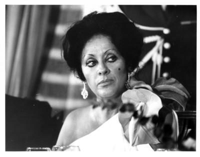 Carmen Romano de López Portillo mira hacia la izquierda durante cena efectuada en la cancillería