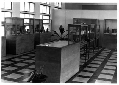 Vitrinas con cerámica prehispánica en exhibición